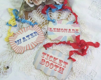 Vintage Carnival Signs - Customized - Set of 3 - Circus Birthday Baby Shower Buffet LabelsVintage Style Lemonade Ticket Booth