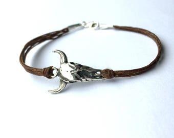 Sterling Cow Skull Bracelet Cowboy Bracelet in Sterling Silver and linen Graduation Gift Texas