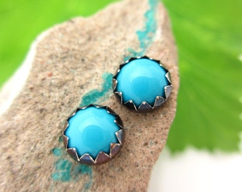 Black Silver Turquoise Cabochon Earrings, Sleeping Beauty Mine 6mm