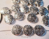 Metal Beads, 11x4mm, Antique Silver Coin, Southwest Sun Design, Tribal Look, 1mm Hole, QTY 20 beads - bm80
