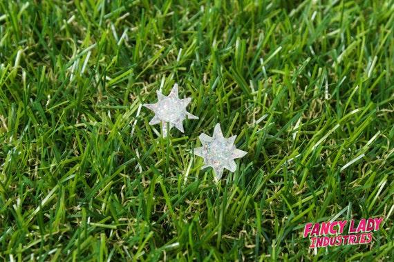 White Glitter Star Stud Earrings, Laser Cut Acrylic