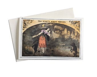 Halloween Card,  Halloween Greeting Card, She Didn't Scare Easily, Ghosts and Goblins, Black and Orange, Pretty Witch,