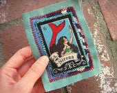 La Sirena MERMAID patch / upcycled LOTERIA card sew-on applique, badge one of a kind ooak