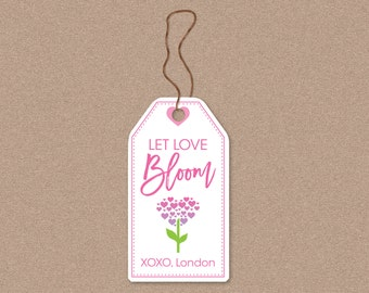 INSTANT DOWNLOAD (Digital) Let Love Bloom Valentine Hanging Tag in Pinks and Purple with Hearts and Pretty Fonts with Editable Fields