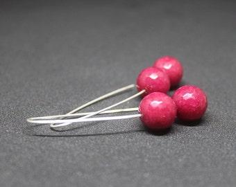 Silver Dangle Earrings, Tinted Jade Marsala Earrings, Statement silver earrings, Minimalist marsala earrings, Long sterling silver earrings