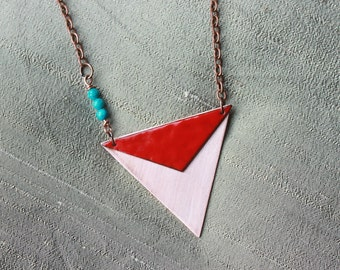 Triangle copper necklace, Tribal jewelry, Bohemian necklace, Bohemian jewelry, Triangle jewelry, Triangle pendant, Geometric pendant