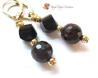 Garnet Earrings January Birthstone Jewelry, Birthday Gift for Women, Wife's Birthday, Dark Red Stone, Gold Earrings, Black Swarovski Crystal