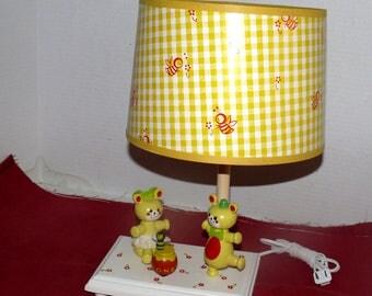 Nursery Musical Lamp - Yellow Bears - Interactive - 1981 - Small World