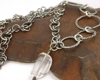 Hand Stamped Sterling Link Necklace with Rock Crystal Pendant - Made to Order