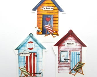 Beach Hut sea side, deck chair, Glass decal, waterslide decals, fused glass ceramics, ideal coasters , individual permanent transfer