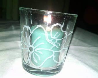 Reclaimed Upcycled Glass Candle Holder with Etched Glass Flowers Small 3 Inch Mom Sister Friend Bridal Shower Wedding Party Favor Table