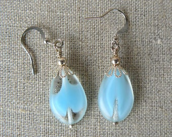 Aqua Beaded Earrings, Turquoise Glass Bead Dangles, Feminine Jewelry, Aqua and Silver Earrings, Gift for Her