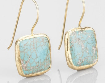 Turquoise Square Earrings With Silver Settings Coated with Gold Vermeil
