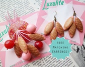 Mid Century Pink and gold dream! 40s 50s confetti lucite style novelty atomic cherry vintage inspired brooch with free earrings by Luxulite
