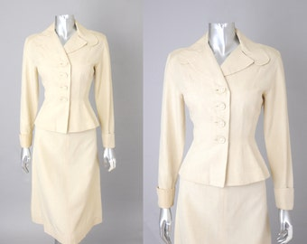 Tea Council cream silk suit |  vintage 1950s  | silk 50s suit