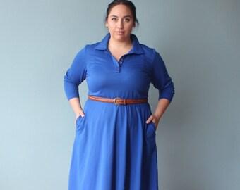 plus size dress | blue vintage plus size shirt dress | 1980s XXL