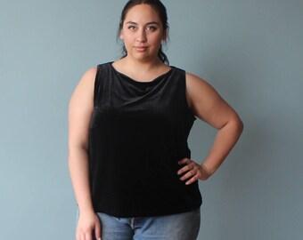plus size tank top | velvet plus size sleeveless shirt | black crush velvet | 1990s XXL
