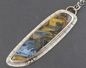 RESERVED FINAL PAYMENT Pietersite Necklace, blue flash, sterling silver, gold, blue brown, necklace, michele grady jewelry, pietersite