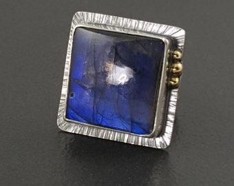 ON SALE---Labradorite Ring , large labradorite ring, size 8 ring, silver and gold, 10kt gold ring, mixed metal, labradorite, boho, big ring