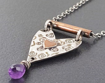 Mixed Metal Heart Necklace, sterling silver, heart necklace, amethyst, mixed metals, mixed metal, amethyst, copper, silver, michele grady