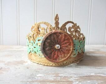 Ornate Santos crown antique vintage style decor crown small handmade tiara doll size decor crown mixed media faux verdigris  rust crystals