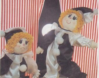 Vintage Pattern Style 3470 Stuffed Toy Pierrot Rag Doll 80s UNCUT
