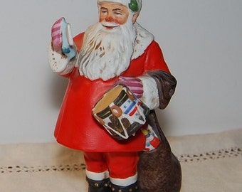Vintage Norman Rockwell Christmas Santa Claus Figurine with Drum Sack Toys List Dave Grossman Designs