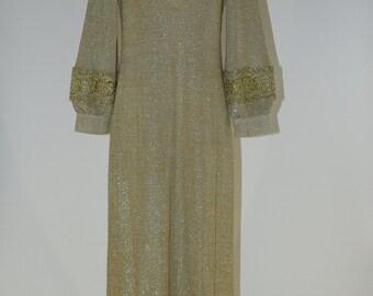 1970s Lilli Diamond Gold and Silver lamé long sheath Metallic knit column dress