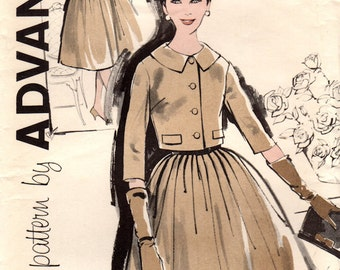 1960s Advance 9556 UNCUT Vintage Sewing Pattern Misses Full Skirt Afternoon Dress, Party Dress, Cropped Tailored Jacket Size 18 Bust 38