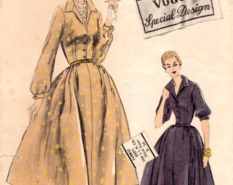 1950s Vogue Special Design S-4730 Vintage Sewing Pattern Misses Shirtwaist Dress, One Piece Dress, Full Skirt Dress Size 16 Bust 36