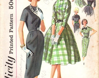 1950s Simplicity 2646 Vintage Sewing Pattern Misses One Piece Dress, Accessory Dress, Full Skirt, Slim Skirt Size Bust 34, Size Bust 36