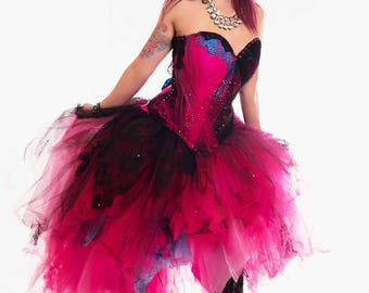 "Punk Gown Jinx Cosplay - League of Legends Distressed Adult Halloween Corset Dress - Wedding dress ""Punk Gown"" - CUSTOM to Order"