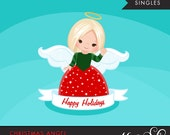 Christmas Angel Clipart 2. Blonde, holiday, ornaments, illustration, graphic, cute, character, religious