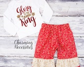 Baby Girl Christmas Outfit, Holiday Toddler Clothes, Top Ruffle Pants Set Glory to the Newborn King Religious Charming Necessities Red Gold