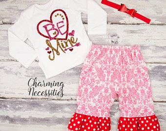 Baby Girl Valentines Day Outfit, Toddler Girl Clothes, Top and Ruffle Pants Set, Be Mine red hot pink gold sparkle by Charming Necessities