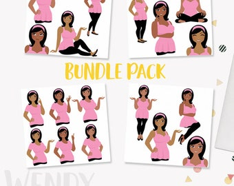 Woman character clipart bundle pack, curvy girl, digital blog clipart, plus size avatar, dark skin african american (Wendy LB16)