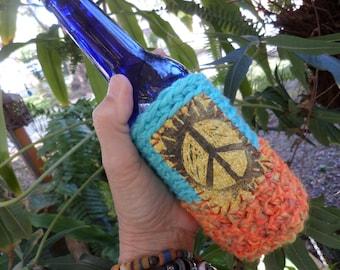 Hippie Festival, beer cooler, can cooler, bottle cooler, Beer cozy, Cheers,Hippie peace, hippie crochet, boho beer, crochet beer