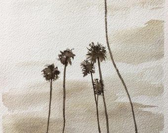 MEDIUMSIZED ORIGINAL WATERCOLOUR / Palm Trees on Shoreline Drive in Santa Barbara, California, approx. 20x29 cm / 8x11.5 inches
