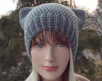 Pewter Gray Pussy Cat Hat, Womens Crochet Hat, Pussycat Beanie, Hat with Ears, Grey Cat Hat, Winter Hat
