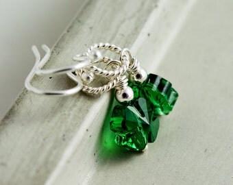 Shamrock Earrings, Clover Earrings, Drop Earrings, Lucky Earrings, Crystal Earrings, Crystal Jewelry, Swarovski Crystal, St Patrick Day
