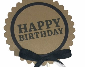 Birthday Cake Topper Decoration, Candy Pick, Kraft Brown and Black or Your Choice of Colors
