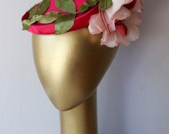 Vintage 1950's Cerise Satin Cocktail Hat With Rose ~ Vintage 50s Hat ~ Vintage 1950s Red Pink Hat By Gene Doris