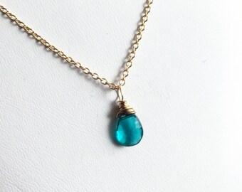 Paraiba Blue Petite Briolette Gemstone Pendant, Gold Fill