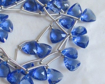 Sapphire Blue Quartz Briolette Beads,  Trillion 9mm Briolettes