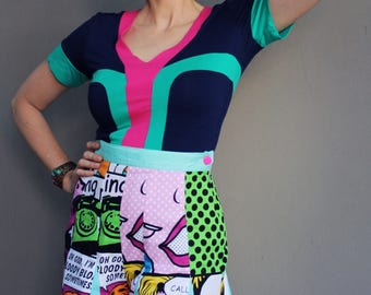 Pop Art Flared Shorts, Comic Graphic Designer Fashion Shorts, High Waist, White, Black, Pink, Green, Yellow, Orange, Made in Australia.