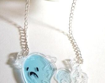 Sad Ghost clear acrylic charm necklace