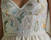 Deposit for Custom Meadow Bustier for Heather... hand embroidered bustier whimsical boho corset bohemian woodland country bespoke