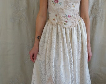 Briar Patch Wedding or Formal Gown... romantic boho whimsical prom bustier dress woodland embroider corset country vintage eco friendly
