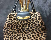 Vintage 1950's Ronay leopard print double handle handbag