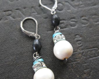 SALE - Clearance - Perfectly Imperfect Shabby Chic Pearl and Turquoise Earrings